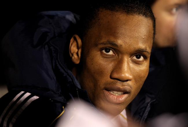 LONDON, ENGLAND - FEBRUARY 14:  Didier Drogba of Chelsea sits on the bench during the Barclays Premier League match between Fulham and Chelsea at Craven Cottage on February 14, 2011 in London, England.  (Photo by Scott Heavey/Getty Images)