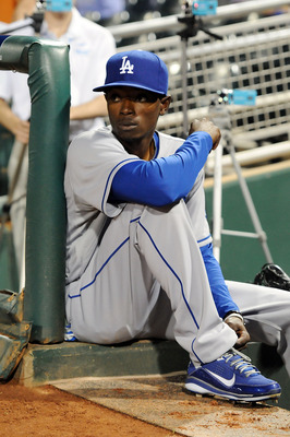 GOODYEAR, AZ - MARCH 03:  Dee Gordon #70 of the Los Angeles Dodgers watches his team take on the Cincinnati Reds from the bench at Goodyear Ballpark on March 3, 2011 in Goodyear, Arizona.  (Photo by Norm Hall/Getty Images)