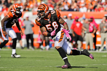 CINCINNATI, OH - OCTOBER 10: Rey Maualuga #58 of the Cincinnati Bengals runs after the ballcarrier against the Tampa Bay Buccaneers at Paul Brown Stadium on October 10, 2010 in Cincinnati, Ohio. (Photo by Jamie Sabau/Getty Images)