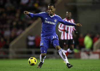 SUNDERLAND, ENGLAND - FEBRUARY 01:  Didier Drogba of Chelsea runs with the ball during the Barclays Premier League match between Sunderland and Chelsea at the Stadium of Light on February 1, 2011 in Sunderland, England.  (Photo by Scott Heavey/Getty Image