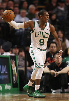 BOSTON, MA - MARCH 02:  Rajon Rondo #9 of the Boston Celtics looks to pass in the second half against the Phoenix Suns on March 2, 2011 at the TD Garden in Boston, Massachusetts.  The Celtics defeated the Suns 115-103. NOTE TO USER: User expressly acknowl