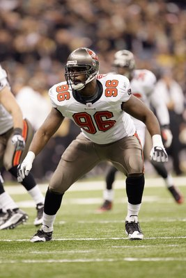 NEW ORLEANS - DECEMBER 27: Tim Crowder #96 of the Tampa Bay Buccaneers moves on the field during the game against the New Orleans Saints at the Louisiana Superdome on December 27, 2009 in New Orleans, Louisiana. (Photo by Jamie Squire/Getty Images)