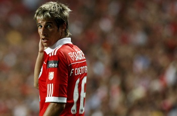 PORTUGAL - AUGUST 28:  Fabio Coentrao of Benfica looks on during the Portuguese Liga match between Benfica and Vitoria Setubal at Luz Stadium on August 28, 2010 in Lisbon, Portugal.  (Photo by Patricia de Melo/EuroFootball/Getty Images)
