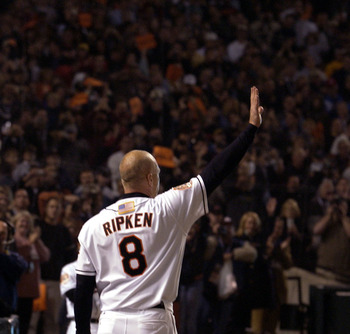 06 Oct 2001:  Cal Ripken Jr. #8 of the Baltimore Orioles makes a curtain call after his last at-bat in the eighth inning of the last game of his career at Camden Yards in Baltimore, Maryland. The Red Sox beat the Orioles 5-1. <DIGITAL IMAGE>    Mandatory