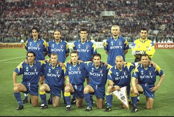 23 May 1996:  The Juventus team before the European Cup Final  against Ajax Amsterdam in Rome, Italy. Juventus won the match 4-2 on penalties.  Mandatory Credit: Shaun  Botterill/Allsport