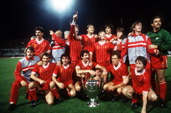 1984:  Liverpool celebrate during the 1984 European Cup Final between Roma v Liverpool played in Rome, Italy. Liverpool won 5-3 on penalties Mandatory Credit: Allsport UK/ALLSPORT