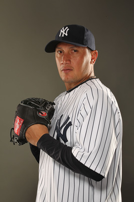 TAMPA, FL - FEBRUARY 23: Freddy Garcia #36 of the New York Yankees poses for a portrait on Photo Day at George M. Steinbrenner Field on February 23, 2011 in Tampa, Florida.  (Photo by Al Bello/Getty Images)
