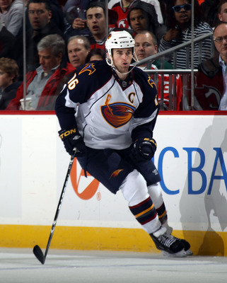 NEWARK, NJ - MARCH 15:  Andrew Ladd #16 of the Atlanta Thrashers skates against the New Jersey Devils at the Prudential Center on March 15, 2011 in Newark, New Jersey. The Devils defeated the Thrashers 4-2.  (Photo by Bruce Bennett/Getty Images)