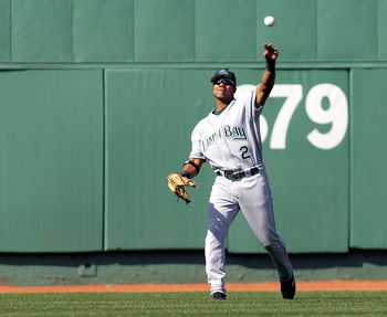 BOSTON - APRIL 17:  Center fielder Alex Sanchez #2 of the Tampa Bay Devil Rays throws the ball back to the infield after making a catch against the Boston Red Sox on April 17, 2005 at Fenway Park in Boston, Massachusetts. The Red Sox won the game 3-1.  (P
