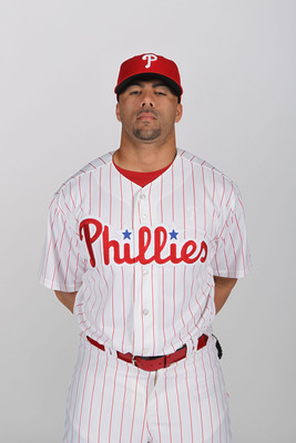 CLEARWATER, FL - FEBRUARY 22:  J.C. Romero #16 of the Philadelphia Phillies poses for a photo during Spring Training Media Photo Day at Bright House Networks Field on February 22, 2011 in Clearwater, Florida.  (Photo by Nick Laham/Getty Images)