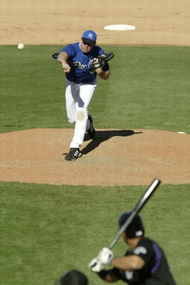 SURPRISE, AZ - MARCH 7:  Jason Grimsley #38 of the Kansas City Royals pitches  during the game against the Colorado Rockies on March 7, 2004 at Surprise Stadium in Surprise, Arizona.  The Rockies won 4-1.  (Photo by Brian Bahr/Getty Images)