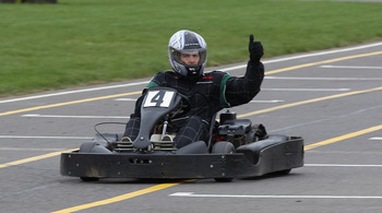NORTHAMPTON, ENGLAND - MARCH 21:  Ben Foden, the Northampton Saints and England fullback gives the thumbs up whilst driving on a go-kart  during the Northampton Saints media day on March 21, 2011 in Northampton, England.  (Photo by David Rogers/Getty Imag
