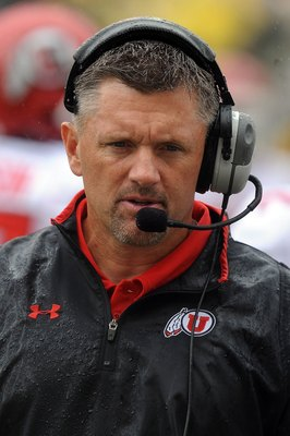 EUGENE, OR - SEPTEMBER 19:  Head coach Kyle Whittingham of the Utah Utes works the sidelines in the third quarter of the game against the Oregon Ducks at Autzen Stadium on September 19, 2009 in Eugene, Oregon. Oregon won the game 31-24. (Photo by Steve Dy