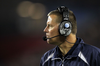GLENDALE, AZ - JANUARY 01:  Head coach Randy Edall of the Connecticut Huskies looks on in the first half while taking on the Oklahoma Sooners during the Tostitos Fiesta Bowl at the Universtity of Phoenix Stadium on January 1, 2011 in Glendale, Arizona.  (
