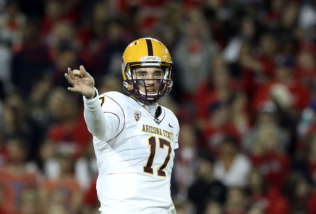 TUCSON, AZ - DECEMBER 02:  Quarterback Brock Osweiler #17 of the Arizona State Sun Devils during the college football game at Arizona Stadium on December 2, 2010 in Tucson, Arizona. The Sun Devils defeated the Wildcats 30-29 in double overtime.  (Photo by