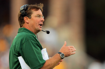 BOULDER, CO - SEPTEMBER 06:  Head coach Steve Fairchild of the Colorado State Rams leads his team against the Colorado Buffaloes at Folsom Field on September 6, 2009 in Boulder, Colorado.  (Photo by Doug Pensinger/Getty Images)