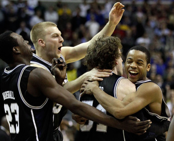 WASHINGTON - MARCH 19:  The Butler Bulldogs celebrate their victory over the Pittsburgh Panthers during the third round of the 2011 NCAA men's basketball tournament at Verizon Center on March 19, 2011 in Washington, DC.  (Photo by Rob Carr/Getty Images)