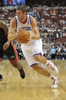 PHILADELPHIA - OCTOBER 27:  Spencer Hawes #00 of the Philadelphia 76ers in action during the game against the Miami Heat at the Wells Fargo Center on October 27, 2010 in Philadelphia, Pennsylvania. NOTE TO USER: User expressly acknowledges and agrees that