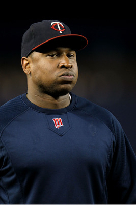 NEW YORK - OCTOBER 09:  Delmon Young #21 of the Minnesota Twins looks on during batting practice against the New York Yankees during Game Three of the ALDS part of the 2010 MLB Playoffs at Yankee Stadium on October 9, 2010 in the Bronx borough of New York