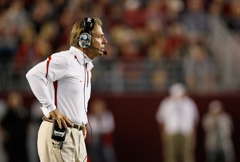 TUSCALOOSA, AL - OCTOBER 16:  Head coach Nick Saban of the Alabama Crimson Tide against the Ole Miss Rebels at Bryant-Denny Stadium on October 16, 2010 in Tuscaloosa, Alabama.  (Photo by Kevin C. Cox/Getty Images)