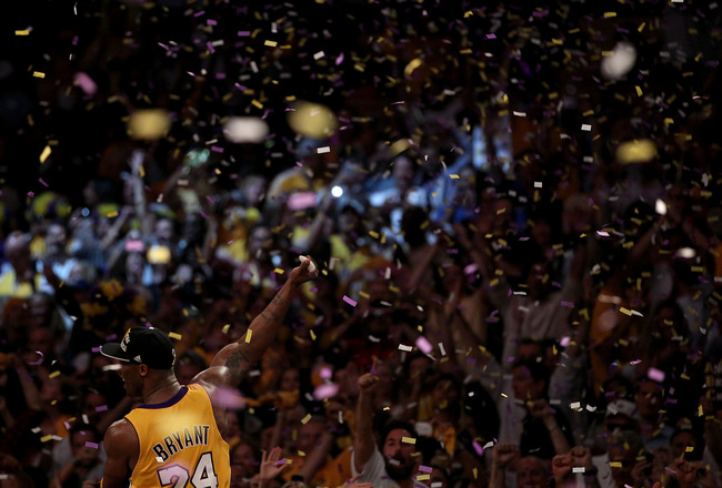 LOS ANGELES, CA - JUNE 17:  Kobe Bryant #24 of the Los Angeles Lakers celebrates after the Lakers defeated the Boston Celtics in Game Seven of the 2010 NBA Finals at Staples Center on June 17, 2010 in Los Angeles, California.  NOTE TO USER: User expressly
