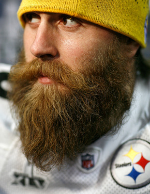 FORT WORTH, TX - FEBRUARY 02:  Defensive end Brett Keisel #99 of the Pittsburgh Steelers talks with the media on February 2, 2011 in Fort Worth, Texas. The Pittsburgh Steelers will play the Green Bay Packers in Super Bowl XLV on February 6, 2011 at Cowboy