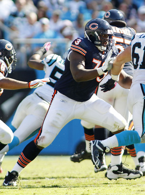 CHARLOTTE, NC - OCTOBER 10: Offensive tackle J'Marcus Webb #73 of the Chicago Bears blocks defensive tackle Derek Landri #61 of the Carolina Panthers at Bank of America Stadium on October 10, 2010 in Charlotte, North Carolina. (Photo by Geoff Burke/Getty