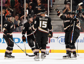 ANAHEIM, CA - OCTOBER 17:  Toni Lydman #32 of the Anaheim Ducks celebrates his goal with Bobby Ryan #9, Corey Perry #10 and Ryan Getzlaf #15 and Lubimor Visnovsky #17 for a 2-0 lead over the Phoenix Coyotes during the second period at the Honda Center on