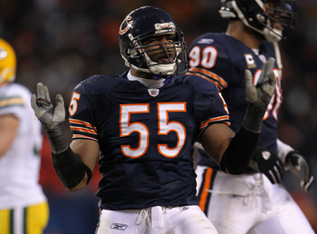 CHICAGO, IL - JANUARY 23:  Lance Briggs #55 of the Chicago Bears reacts while taking on the Green Bay Packers in the NFC Championship Game at Soldier Field on January 23, 2011 in Chicago, Illinois.  (Photo by Jamie Squire/Getty Images)