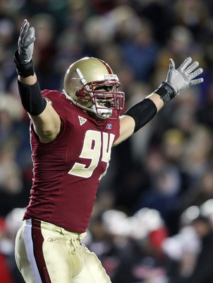 CHESTNUT HILL, MA - NOVEMBER 29:  Mark Herzlich #94 of the Boston College Eagles tries to get the crowd going in the third quarter against the Maryland Terrapins on November 29, 2008 at Alumni Stadium in Chestnut Hill, Massachusetts. Boston College defeat