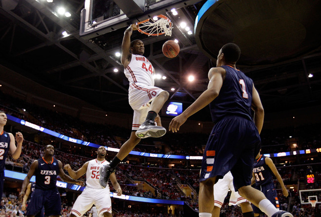 CLEVELAND, OH - MARCH 18: William Buford #44 of the Ohio State Buckeyes dunks against the Texas-San Antonio Roadrunners during the second round of the 2011 NCAA men's basketball tournament at Quicken Loans Arena on March 18, 2011 in Cleveland, Ohio.  (Pho