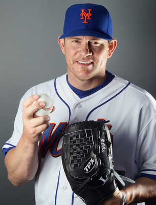 PORT ST. LUCIE, FL - FEBRUARY 24:  RY 24:  Jason Isringhausen #45 of the New York Mets poses for a portrait during the New York Mets Photo Day on February 24, 2011 at Digital Domain Park in Port St. Lucie, Florida.  (Photo by Elsa/Getty Images)