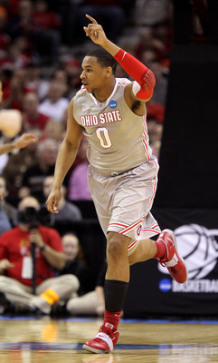 CLEVELAND, OH - MARCH 20: Jared Sullinger #0 of the Ohio State Buckeyes reacts after a play in the first half against the George Mason Patriots during the third of the 2011 NCAA men's basketball tournament at Quicken Loans Arena on March 20, 2011 in Cleve