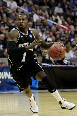 WASHINGTON - MARCH 19:  Shelvin Mack #1 of the Butler Bulldogs drives with the ball against the Pittsburgh Panthers during the third round of the 2011 NCAA men's basketball tournament at Verizon Center on March 19, 2011 in Washington, DC.  (Photo by Nick