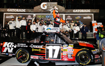 DAYTONA BEACH, FL - FEBRUARY 13:  Timothy Peters, driver of the #17 K&N Toyota, celebrates in Victory Lane after winning the NASCAR Camping World Truck Series Nextera Energy Resources 250 at Daytona International Speedway on February 13, 2010 in Daytona B