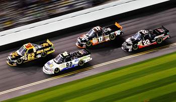 DAYTONA BEACH, FL - FEBRUARY 18:  Brendan Gaughan, driver of the #62 South Point Hotel & Casino Toyota, Timothy Peters, driver of the #17 K&N Toyota, Clay Rogers, driver of the #92 Action Gator Tire Chevrolet, and Joey Coulter, driver of the #22 RCR Chevr