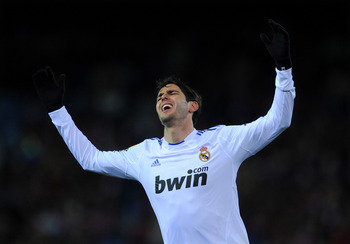 MADRID, SPAIN - JANUARY 20:  Kaka of Real Madrid reacts during the quarter-final Copa del Rey second leg match between Atletico Madrid and Real Madrid and at Vicente Calderon Stadium on January 20, 2011 in Madrid, Spain.  (Photo by Jasper Juinen/Getty Ima