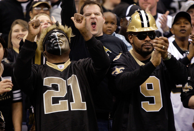 NEW ORLEANS - DECEMBER 27:  New Orleans Saints fans cheer during the game against the Tampa Bay Buccaneers on December 27, 2009 at Louisiana Superdome in New Orleans, Louisiana.  (Photo by Jamie Squire/Getty Images)