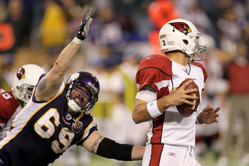 MINNEAPOLIS - NOVEMBER 07:  Defensive end Jared Allen #69 of the Minnesota Vikings sacks quarterback Derek Anderson #3 of the Arizona Cardinals at Hubert H. Humphrey Metrodome on November 7, 2010 in Minneapolis, Minnesota.  The Vikings won 27-24 in overti