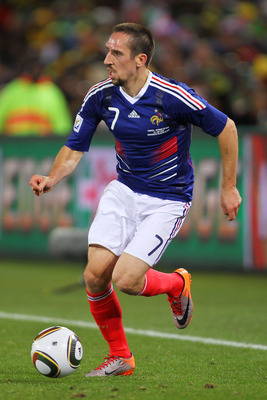 BLOEMFONTEIN, SOUTH AFRICA - JUNE 22:  Franck Ribery of France in action during the 2010 FIFA World Cup South Africa Group A match between France and South Africa at the Free State Stadium on June 22, 2010 in Mangaung/Bloemfontein, South Africa.  (Photo b