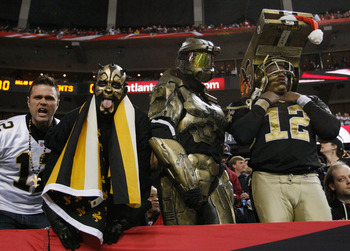 ATLANTA, GA - DECEMBER 27:  New Orleans Saints fans watch the first half action during their game against the Altanta Falcosn at the Georgia Dome on December 27, 2010 in Atlanta, Georgia.  (Photo by Kevin C. Cox/Getty Images)