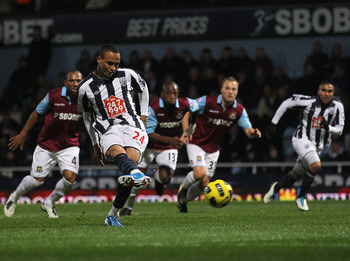 LONDON, ENGLAND - NOVEMBER 10:  Peter Odemwingie of West Bromwich scores their first goal from a penalty during the Barclays Premier League match between West Ham United and West Bromwich Albion at Boleyn Ground on November 10, 2010 in London, England.  (