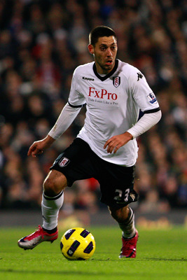 LONDON, ENGLAND - JANUARY 04:  Clint Dempsey of Fulham in action during the Barclays Premier League match between Fulham and West Bromwich Albion at Craven Cottage on January 4, 2011 in London, England.  (Photo by Dan Istitene/Getty Images)