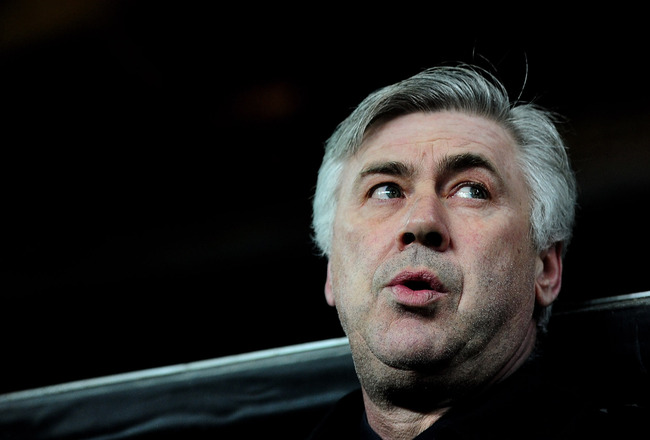 COPENHAGEN, DENMARK - FEBRUARY 22:  Chelsea Manager Carlo Ancelotti looks on prior to the UEFA Champions League round of 16 first leg match between FC Copenhagen and Chelsea at Parken Stadium on February 22, 2011 in Copenhagen, Denmark.  (Photo by Jamie M