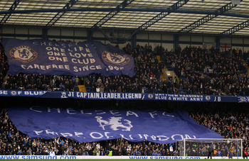 LONDON, ENGLAND - FEBRUARY 19:  Chelsea fans cheer on their team prior to kickoff during the FA Cup sponsored by E.ON 4th round replay match between Chelsea and Everton at Stamford Bridge on February 19, 2011 in London, England.  (Photo by Richard Heathco