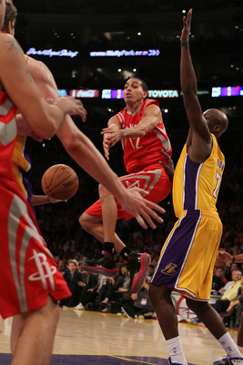 LOS ANGELES, CA - OCTOBER 26:  Kevin Martin #12 of the Houston Rockets loses control of the ball against the Los Angeles Lakers during their opening night game at Staples Center on October 26, 2010 in Los Angeles, California. NOTE TO USER: User expressly