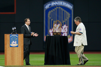 NEW YORK - AUGUST 22:  Tom Seaver is introduced during the presentation commemorating the New York Mets 40th anniversary of the 1969 World Championship team on August 22, 2009 at Citi Field in the Flushing neighborhood of the Queens borough of New York Ci