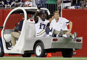 FOXBORO, MA - AUGUST 26:  Donnie Avery #17 of the St. Louis Rams is carted off the field in the second quarter against the New England Patriots on August 26, 2010 at Gillette Stadium in Foxboro, Massachusetts.  (Photo by Elsa/Getty Images)