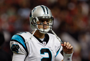 ATLANTA, GA - JANUARY 02:  Jimmy Clausen #2 of the Carolina Panthers walks off the field in the second quarter during their game against the Atlanta Falcons at the Georgia Dome on January 2, 2011 in Atlanta, Georgia.  (Photo by Scott Halleran/Getty Images