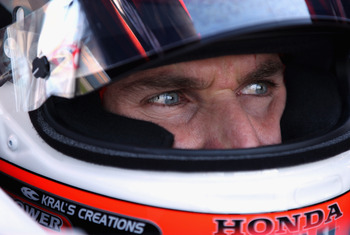 CHICAGO - AUGUST 27:  Will Power of Australia, driver of the #12 Verizon Penske Racing Dallara Honda, during practice for the IndyCar Series PEAK Antifreeze and Motor Oil Indy 300 at Chicagoland Speedway on August 27, 2010 in Chicago, Illinois.  (Photo by